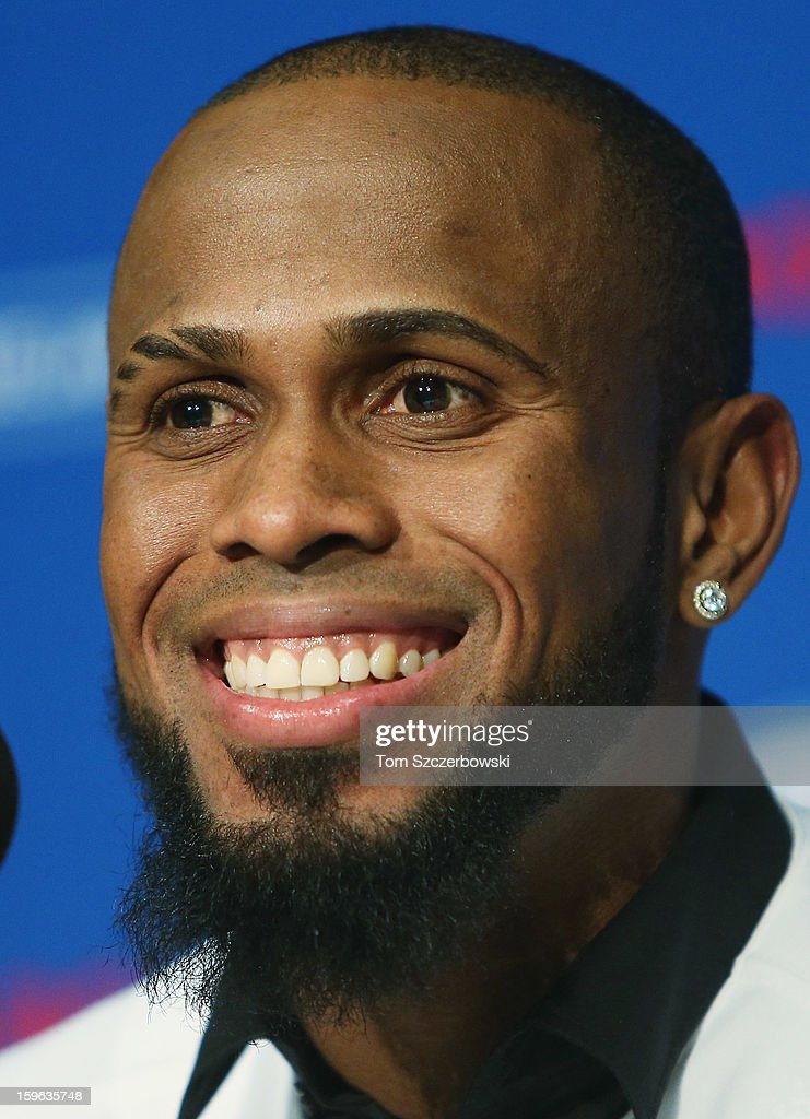 Jose Reyes #7 of the Toronto Blue Jays talks to the media at a press conference at Rogers Centre on January 17, 2013 in Toronto, Ontario.
