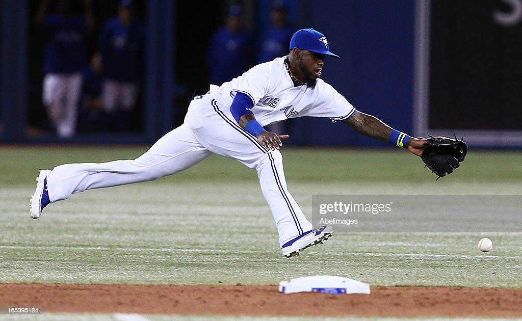 Jose Reyes #7 of the Toronto Blue Jays tracks a ground ball in the seventh inning against the Cleveland Indians during MLB action at the Rogers Centre April 3, 2013 in Toronto, Ontario, Canada.