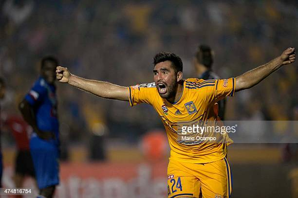 Jose Rivas of Tigres celebrates after scoring his team's second goal during a quarterfinal second leg match between Tigres and Emelec as part of Copa...