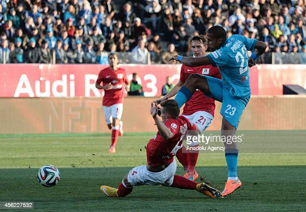 Jose Rondon of FC Zenit Saint Petersburg vies for the ball during the Russian Premier League football match between FC Zenit Saint Petersburg and FC...