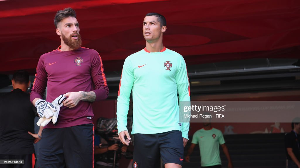Jose Sa and Cristiano Ronaldo look on during the Portugal Training and Press Conference on June 17, 2017 in Kazan, Russia.