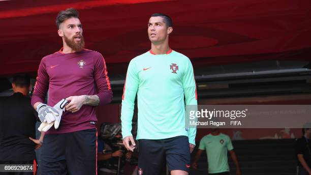Jose Sa and Cristiano Ronaldo look on during the Portugal Training and Press Conference on June 17 2017 in Kazan Russia