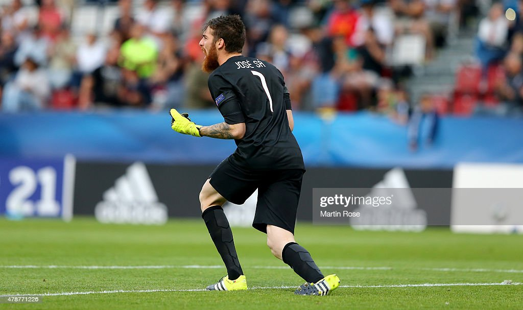 Jose Sa, goalkeeper of Portugal celebrates after the UEFA European Under-21 semi final match Between Portugal and Germany at Ander Stadium on June 27, 2015 in Olomouc, Czech Republic.