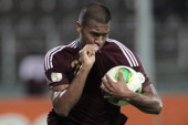 Jose Salomon Rondon of Venezuela celebrates during a match between Venezuela and Peru as part of the 16th round of the South American Qualifiers at...