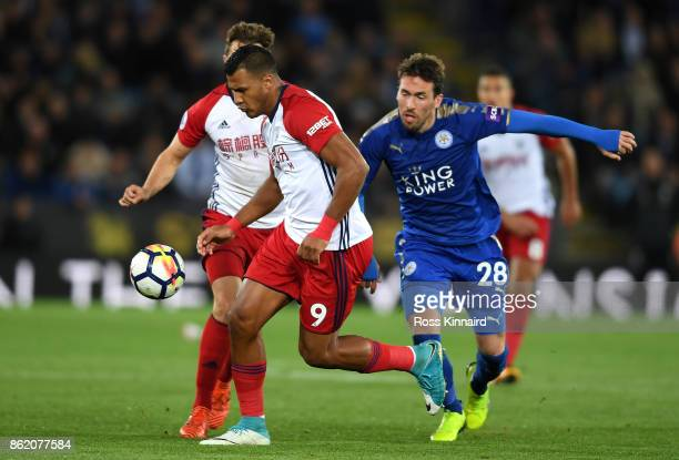Jose Salomon Rondon of West Bromwich Albion and Christian Fuchs of Leicester City in action during the Premier League match between Leicester City...