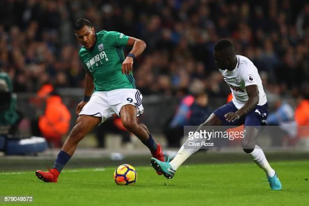 Jose Salomon Rondon of West Bromwich Albion and Davinson Sanchez of Tottenham Hotspur battle for the ball during the Premier League match between...