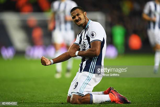 Jose Salomon Rondon of West Bromwich Albion celebrates as he scores their fourth goal during the Premier League match between West Bromwich Albion...