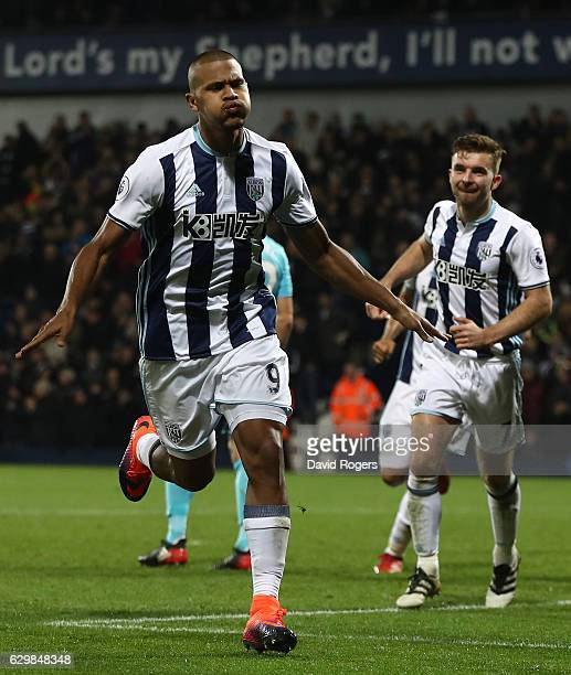 Jose Salomon Rondon of West Bromwich Albion celebrates scoring his sides first goal during the Premier League match between West Bromwich Albion and...
