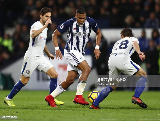 Jose Salomon Rondon of West Bromwich Albion controls the ball under pressure of Cesc Fabregas and Cesar Azpilicueta of Chelsea during the Premier...