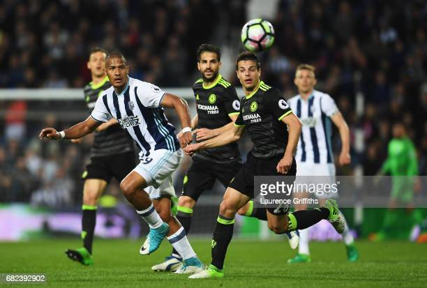 Jose Salomon Rondon of West Bromwich Albion heads the balll on during the Premier League match between West Bromwich Albion and Chelsea at The...