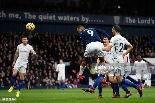 Jose Salomon Rondon of West Bromwich Albion heads to score a disallowed goal during the Premier League match between West Bromwich Albion and Chelsea...