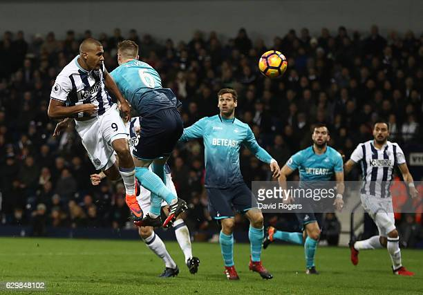 Jose Salomon Rondon of West Bromwich Albion scores his sides first goal with a header during the Premier League match between West Bromwich Albion...