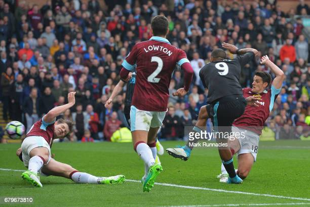Jose Salomon Rondon of West Bromwich Albion scores his sides first goal during the Premier League match between Burnley and West Bromwich Albion at...