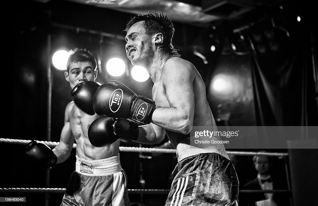 Jose Sanchez and Ravil Galiakhmetov in the ring during the Chessboxing 2012 Season Finale at Scala on December 8, 2012 in London, England.