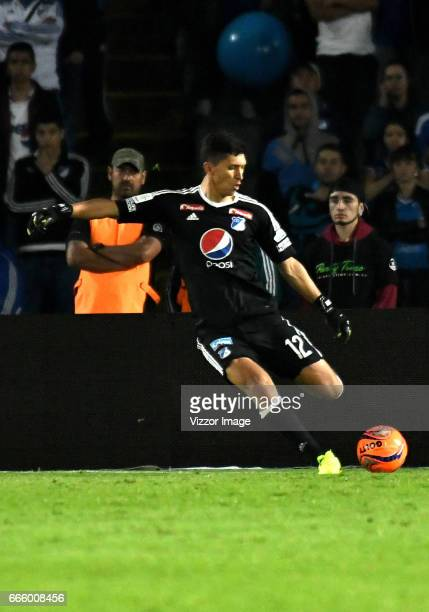 Jose Sanchez goalkeeper of Millonarios kocks the ball off during the match between Millonarios and Atletico Nacional as part of the Liga Aguila I...