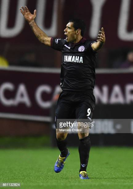 Jose Sand of Lanus celebrates after scoring the first goal of his team during the second leg match between Lanus and San Lorenzo as part of the...