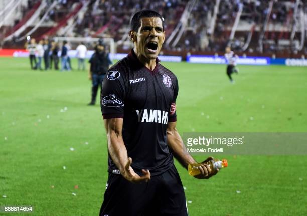 Jose Sand of Lanus celebrates after winning a second leg match between Lanus and River Plate as part of the semifinals of Copa CONMEBOL Libertadores...