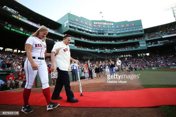Jose Santiago is recognized during a celebration to honor the American League Champion 1967 Red Sox team at Fenway Park on August 16 2017 in Boston...