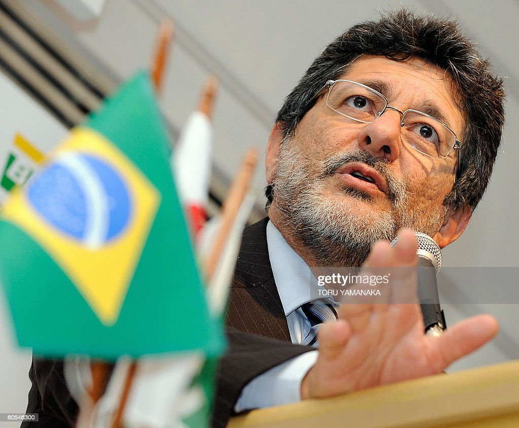 Jose Sergio Gabrielli CEO and president of Brazilian staterun oil company Petrobras delivers a speech beside a national flag during a press...