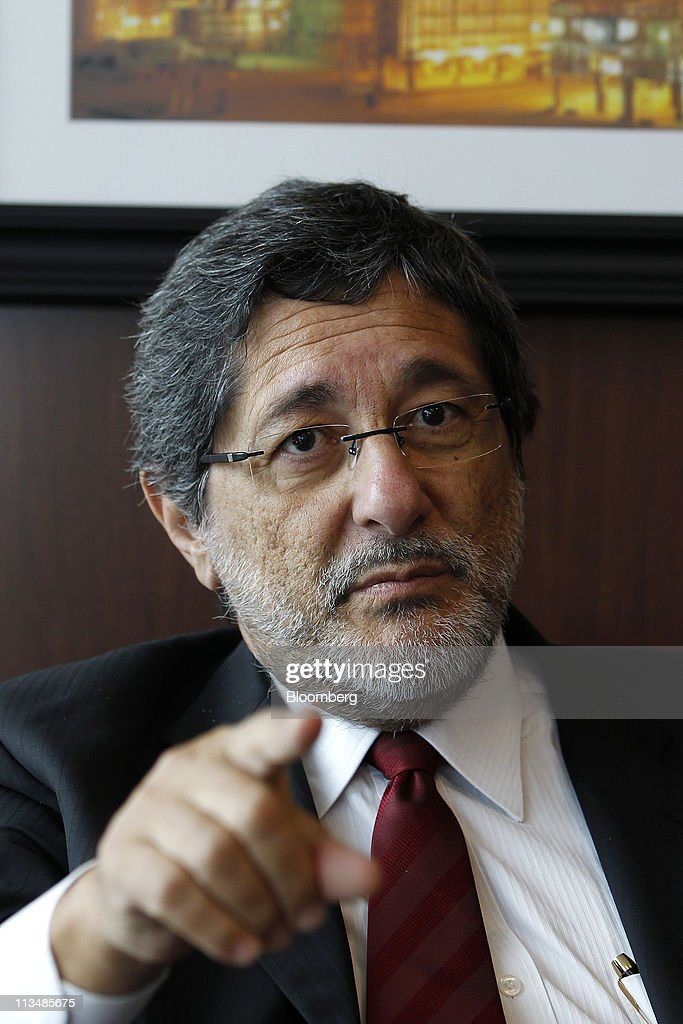 Jose Sergio Gabrielli chief executive officer of Petroleo Brasileiro SA speaks during an interview in Houston Texas US on Monday May 2 2011 Gabrielli...
