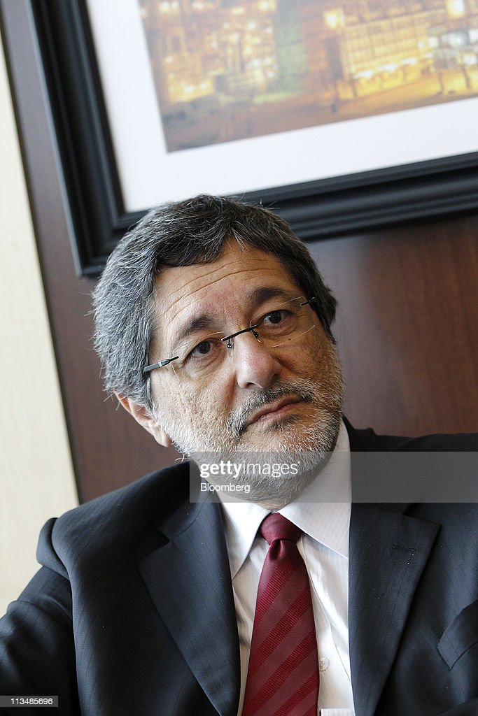 Jose Sergio Gabrielli chief executive officer of Petroleo Brasileiro SA listens during an interview in Houston Texas US on Monday May 2 2011...