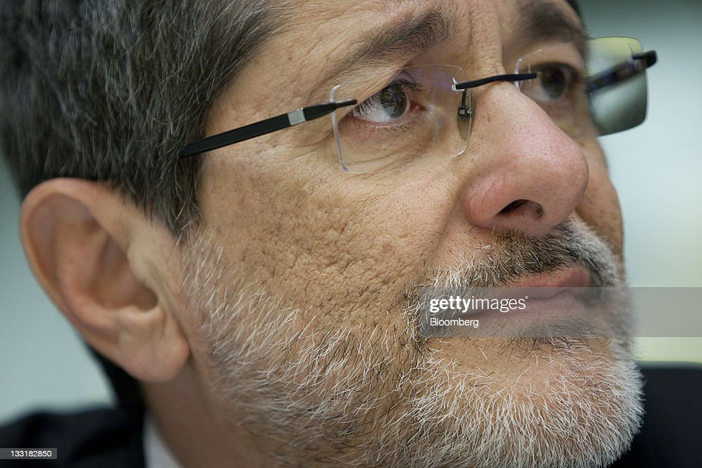 Jose Sergio Gabrielli chief executive officer of Petroleo Brasileiro SA listens during an interview in New York US on Thursday Nov 17 2011 Petroleo...