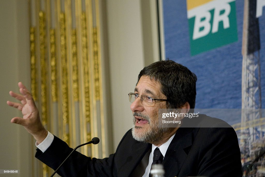 Jose Sergio Gabrielli, chief executive officer of Petroleo Brasileiro SA (Petrobras), speaks during a news conference at the New York Stock Exchange in New York, U.S., on Thursday, May 21, 2009. China Petroleum, also known as Sinopec, will get 150,000 barrels of oil a day this year from Petrobras under one of 13 accords signed this week in Beijing and 200,000 barrels a day between 2010 and 2019.