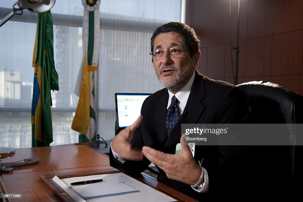 Jose Sergio Gabrielli chief executive officer of Petroleo Brasileiro SA speaks during an interview at company headquarters in Sao Paulo Brazil on...