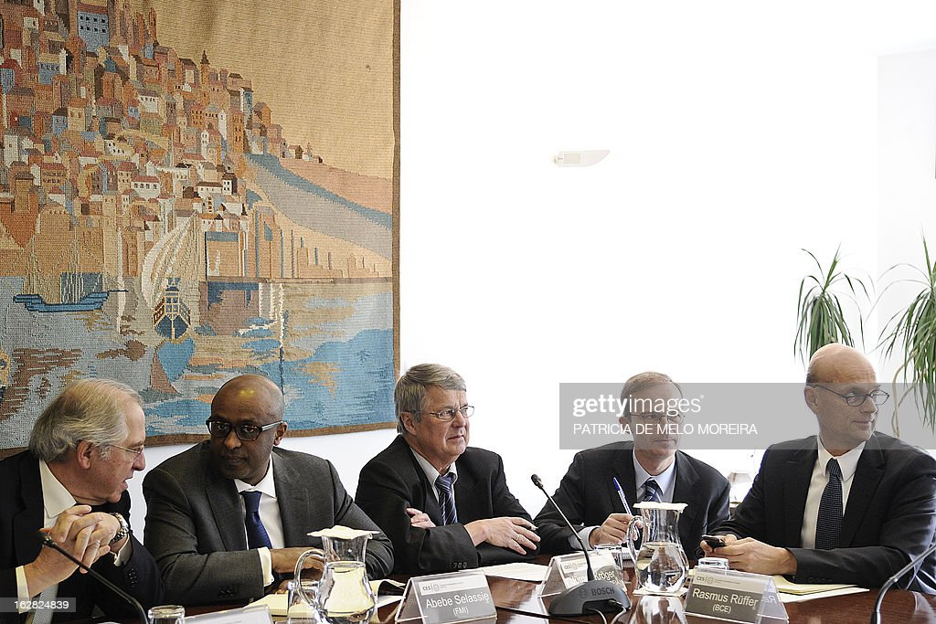 Jose Silva Peneda, President of the Economic and Social Council (CES), Abebe Selassie, International Monetary Fund (IMF) mission chief for Portugal, Jurgen Kroger, head of European Union (EU) delegation and Rasmus Ruffer, head of the European Central Bank (ECB) delegation to Portugal attend a meeting with labour union representatives at the headquartes of the Economic and Social Council (CES) in Lisbon on February 28, 2013, , as the so-called Troika of public creditors -- the European Union, the European Central Bank and the International Monetary Fund -- began its latest review of the country's finances. Portugal was granted a financial rescue package worth 78 billion euros ($103 billion) in May 2011, in exchange for a pledge to straighten out its finances via austerity measures and economic reforms.