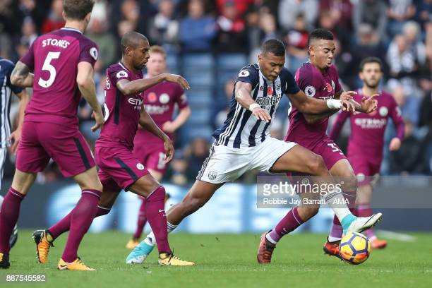 Jose Solomon Rondon of West Bromwich Albion and Gabriel Jesus of Manchester City during the Premier League match between West Bromwich Albion and...