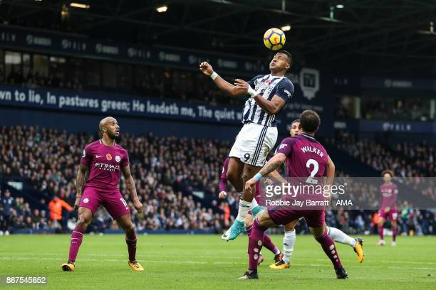Jose Solomon Rondon of West Bromwich Albion and Kyle Walker of Manchester City during the Premier League match between West Bromwich Albion and...