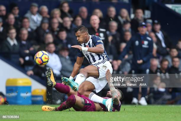 Jose Solomon Rondon of West Bromwich Albion and Nicolas Otamendi of Manchester City during the Premier League match between West Bromwich Albion and...
