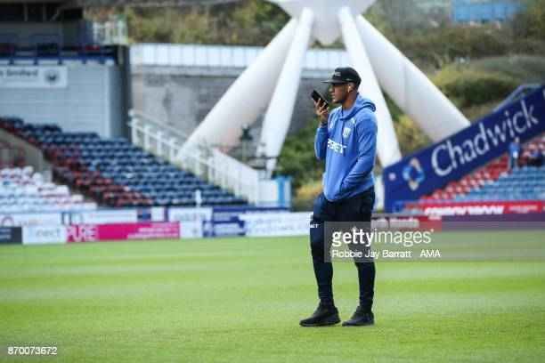 Jose Solomon Rondon of West Bromwich Albion on the pitch prior the Premier League match between Huddersfield Town and West Bromwich Albion at John...