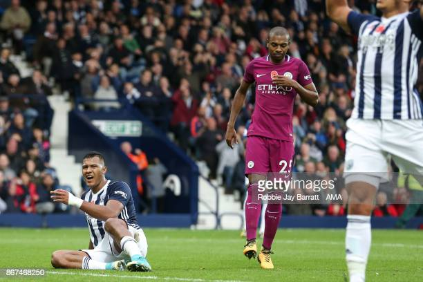 Jose Solomon Rondon of West Bromwich Albion reacts during the Premier League match between West Bromwich Albion and Manchester City at The Hawthorns...