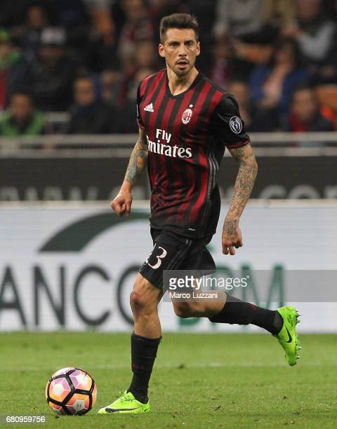 Jose Sosa of AC Milan in action during the Serie A match between AC Milan and AS Roma at Stadio Giuseppe Meazza on May 7 2017 in Milan Italy