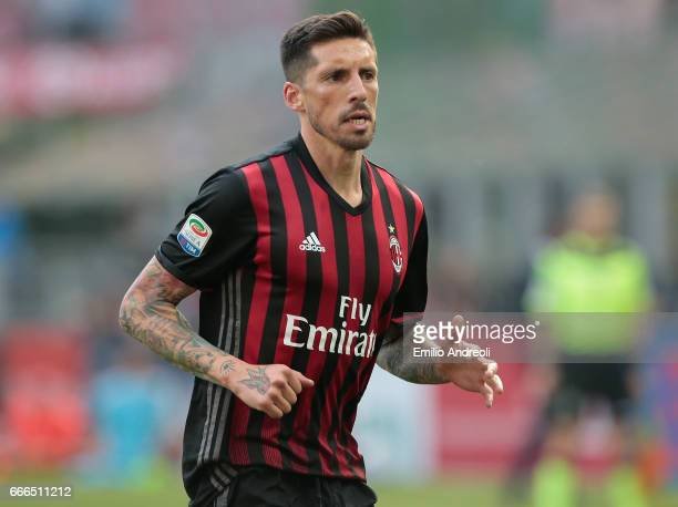 Jose Sosa of AC Milan looks on during the Serie A match between AC Milan and US Citta di Palermo at Stadio Giuseppe Meazza on April 9 2017 in Milan...