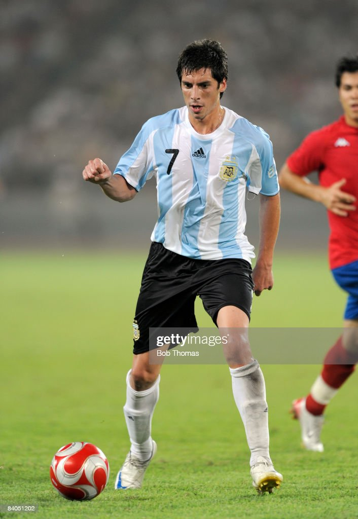 Jose Sosa of Argentina during the Men's First Round Group A match between Argentina and Serbia at the Workers' Stadium on Day 5 of the Beijing 2008...