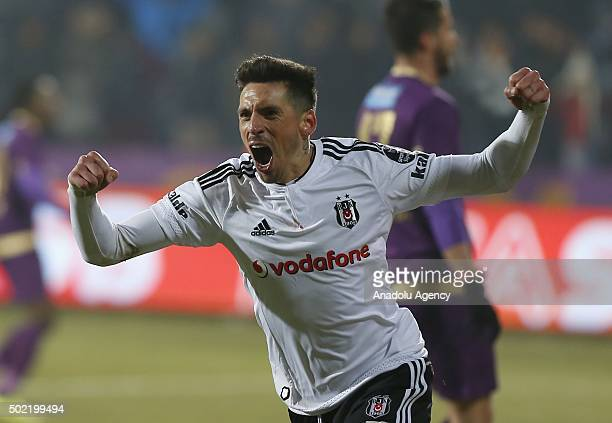 Jose Sosa of Besiktas celebrates after scoring a goal during the Turkish Spor Toto Super Lig match between Osmanlispor and Besiktas at the Osmanli...