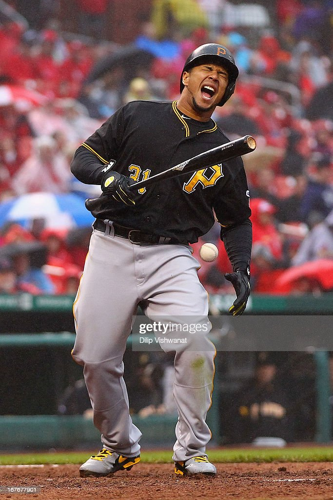 <a gi-track='captionPersonalityLinkClicked' href=/galleries/search?phrase=Jose+Tabata&family=editorial&specificpeople=759093 ng-click='$event.stopPropagation()'>Jose Tabata</a> #31 of the Pittsburgh Pirates reacts after being hit by a pitch from <a gi-track='captionPersonalityLinkClicked' href=/galleries/search?phrase=Trevor+Rosenthal&family=editorial&specificpeople=9003011 ng-click='$event.stopPropagation()'>Trevor Rosenthal</a> #26 of the St. Louis Cardinals in the seventh inning at Busch Stadium on April 27, 2013 in St. Louis, Missouri. The Pirates beat the Cardinals 5-3.