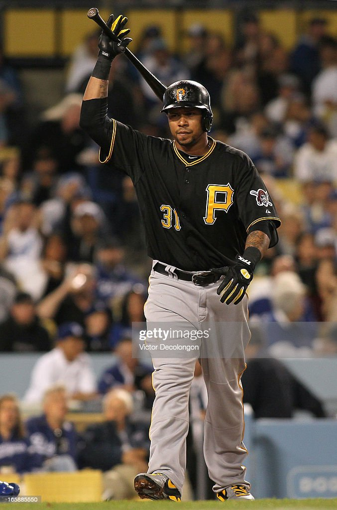 Jose Tabata #31 of the Pittsburgh Pirates reacts after struck out swinging in the fifth inning during the MLB game against the Los Angeles Dodgers at Dodger Stadium on April 6, 2013 in Los Angeles, California.