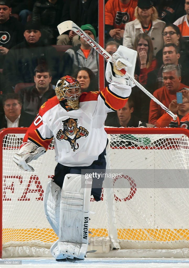 Jose Theodore #60 of the Florida Panthers celebrates the win over the Philadelphia Flyers on February 5, 2013 at the Wells Fargo Center in Philadelphia, Pennsylvania. The Florida Panthers defeated the Philadelphia Flyers 3-2 in an overtime shootout.