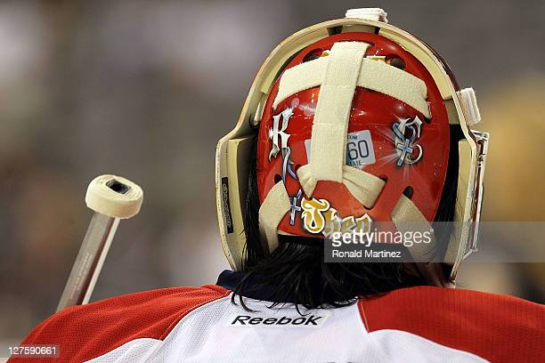 Jose Theodore of the Florida Panthers during play against the Dallas Stars at American Airlines Center on September 29 2011 in Dallas Texas
