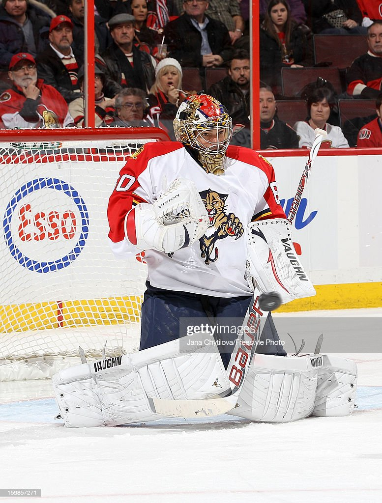 Jose Theodore #60 of the Florida Panthers makes a blocker save during an NHL game against the Ottawa Senators at Scotiabank Place on January 21, 2013 in Ottawa, Ontario, Canada.