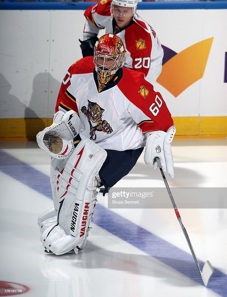 Jose Theodore of the Florida Panthers skates against the New York Islanders at the Nassau Veterans Memorial Coliseum on October 8 2011 in Uniondale...