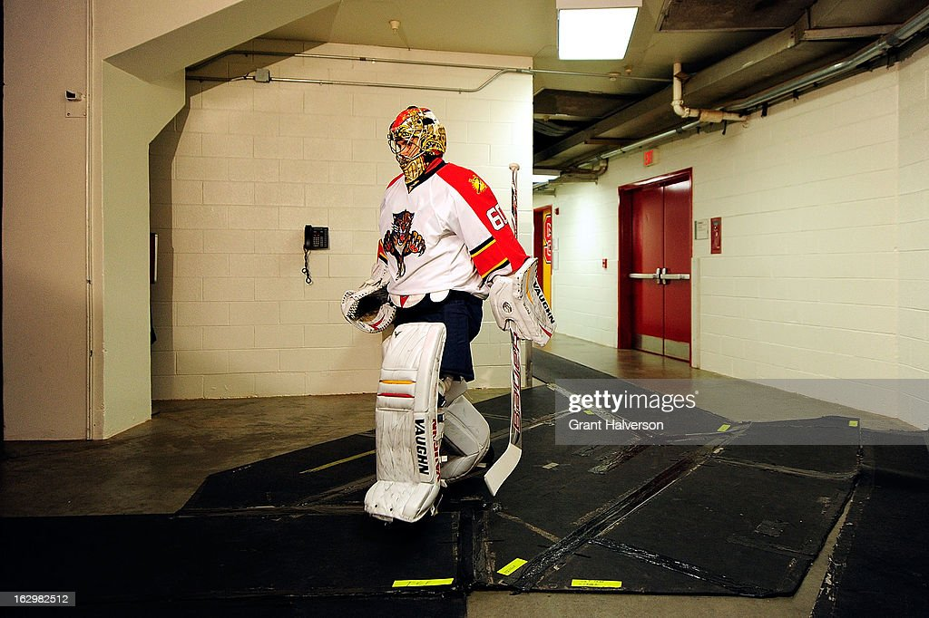 Jose Theodore #60 of the Florida Panthers walks out to the ice before the start of a game against the Carolina Hurricanes at PNC Arena on March 2, 2013 in Raleigh, North Carolina. Theodore left the game in the first period with an injury and the Hurricanes won 6-2.