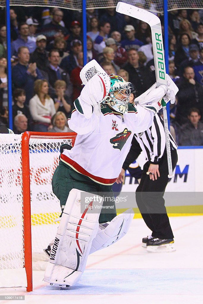 Jose Theodore of the Minnesota Wild celebrates a victory against the St Louis Blues at the Scottrade Center on February 11 2011 in St Louis Missouri...