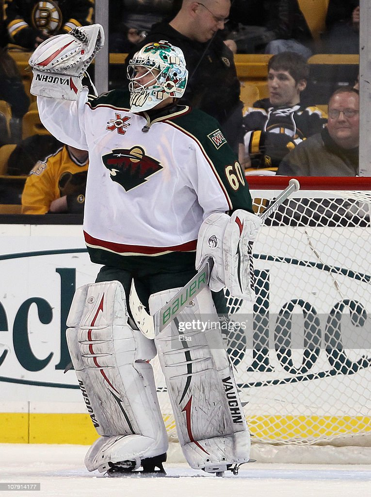 Jose Theodore of the Minnesota Wild celebrates the win over the Boston Bruins on January 6 2010 at the TD Garden in Boston Massachusetts The Wild...