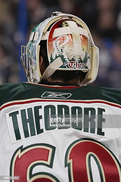 Jose Theodore of the Minnesota Wild looks on as his team plays the St Louis Blues in an NHL game on February 11 2011 at Scottrade Center in St Louis...