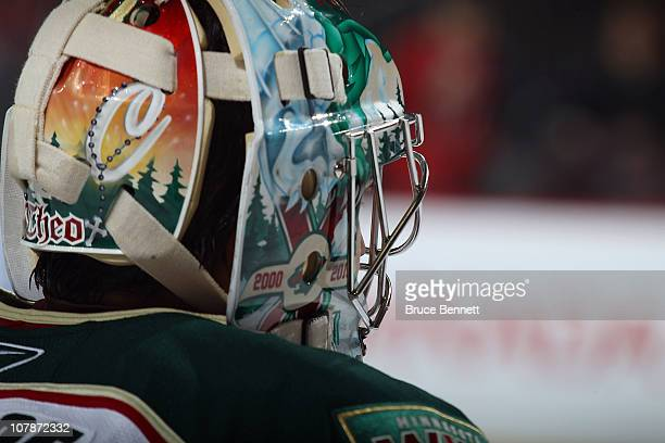 Jose Theodore of the Minnesota Wild takes a break during his game against the New Jersey Devils at the Prudential Center on January 4 2011 in Newark...