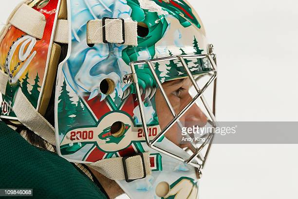 Jose Theodore of the Minnesota Wild warms up prior to the game against the Chicago Blackhawks at Xcel Energy Center on February 28 2011 in Saint Paul...